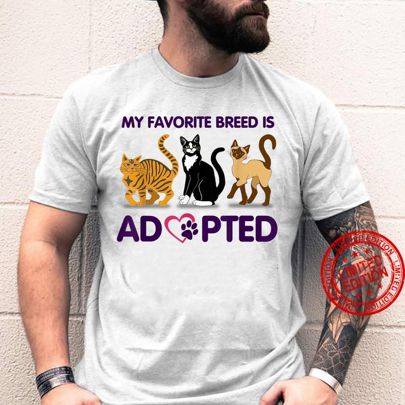 Adopted Is My Favorite Breed Five High For Rescue Dog Dad Shirt
