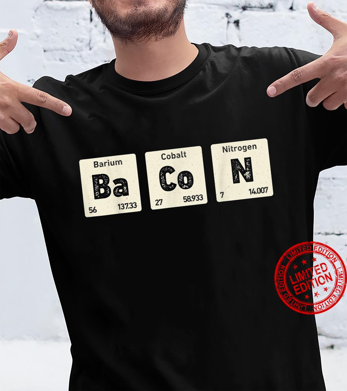 Bacon Science Chemistry Periodic Table Of Elements Shirt