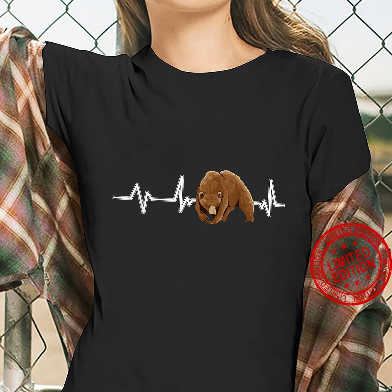 Bear Heartbeat Brown Bear EKG Heart Rate Bears Shirt ladies tee
