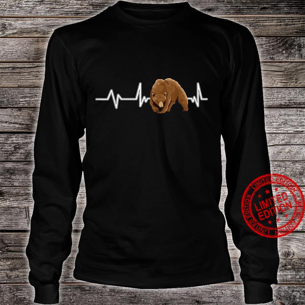 Bear Heartbeat Brown Bear EKG Heart Rate Bears Shirt long sleeved
