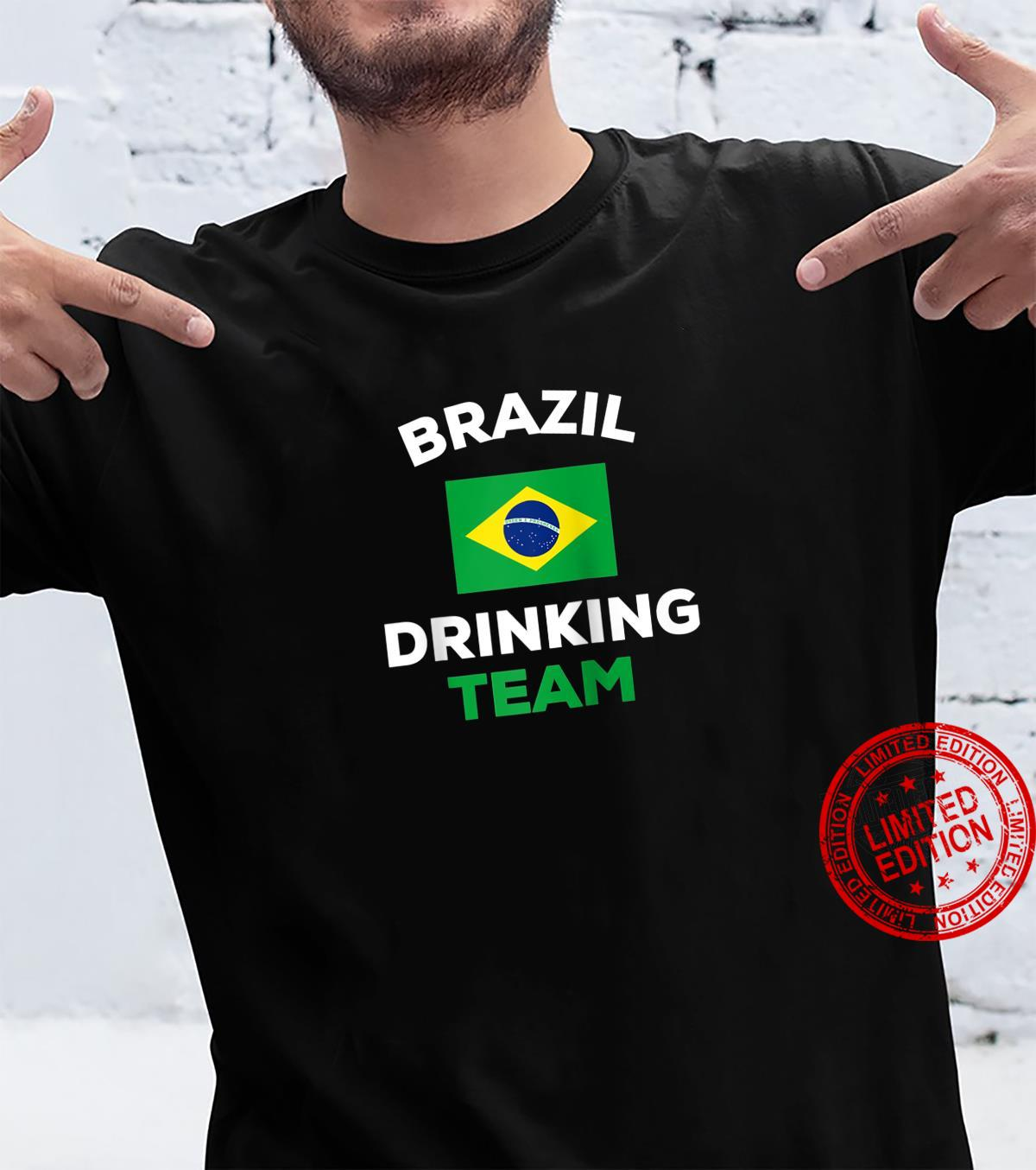 Brazil Drinking Team Flag Beer Drunk Alcohol Party Shirt