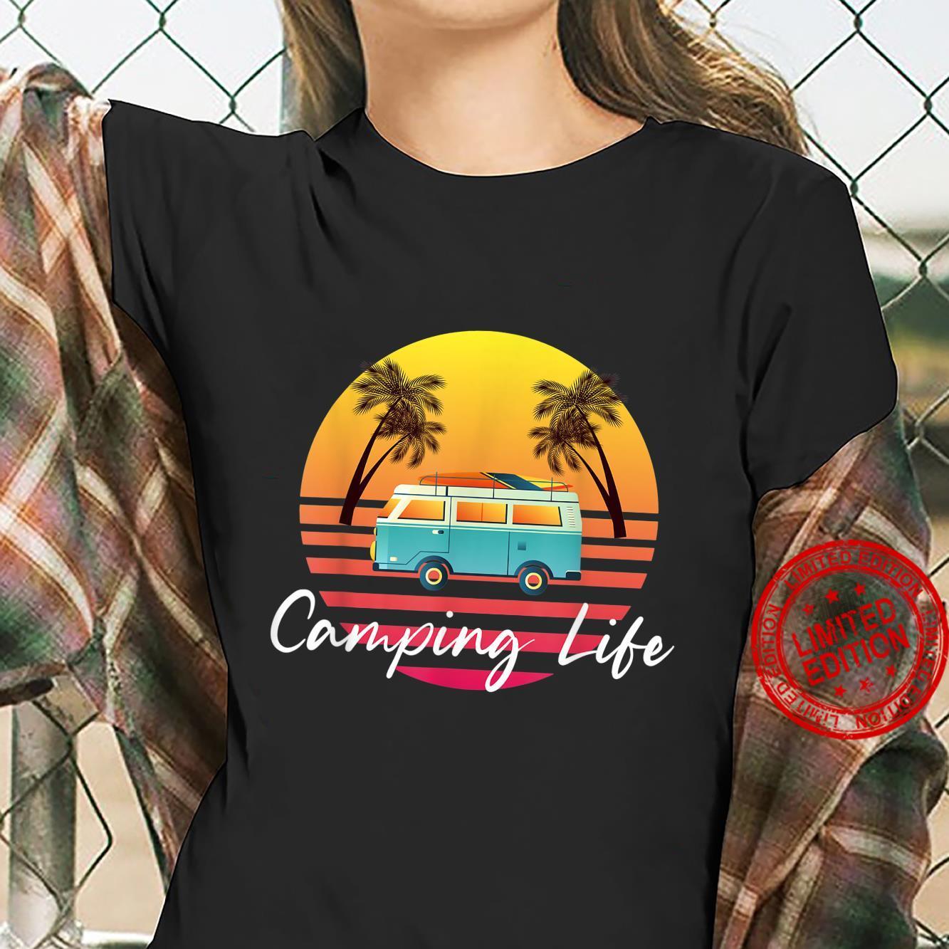 Camping Life Van Bus for Camper Caravan Shirt ladies tee