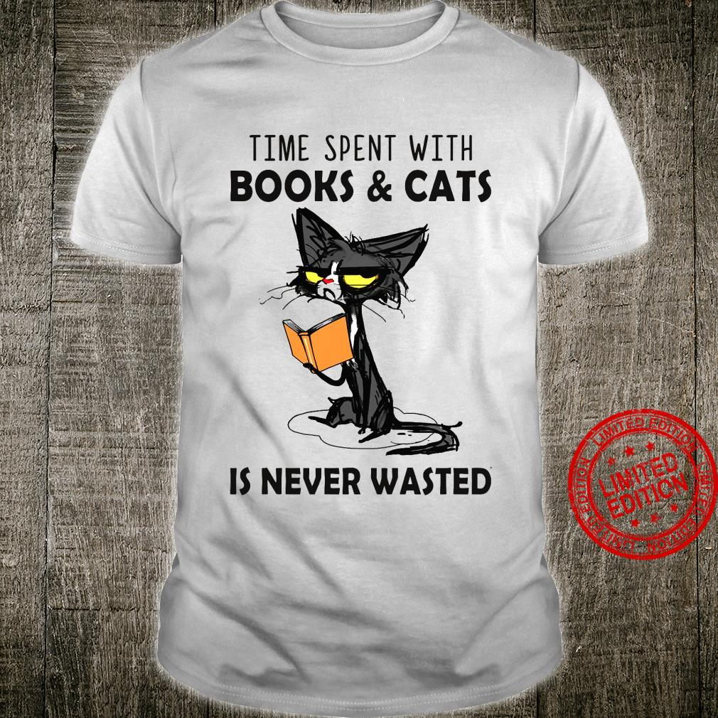Cat Time Spent With Books Cats Is Never Wasted Shirt