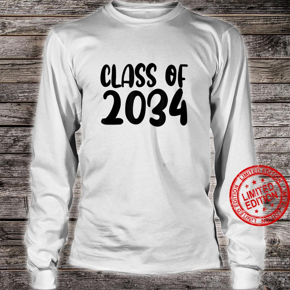 Class Of 2034 Grow With Me Shirt Handprints On Back K To 12 Shirt long sleeved