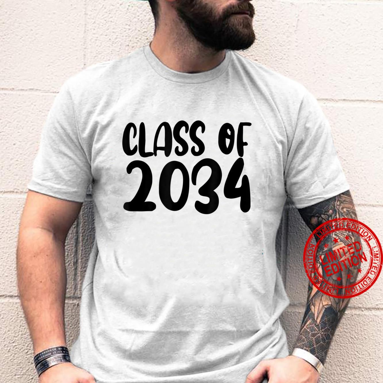 Class Of 2034 Grow With Me Shirt Handprints On Back K To 12 Shirt