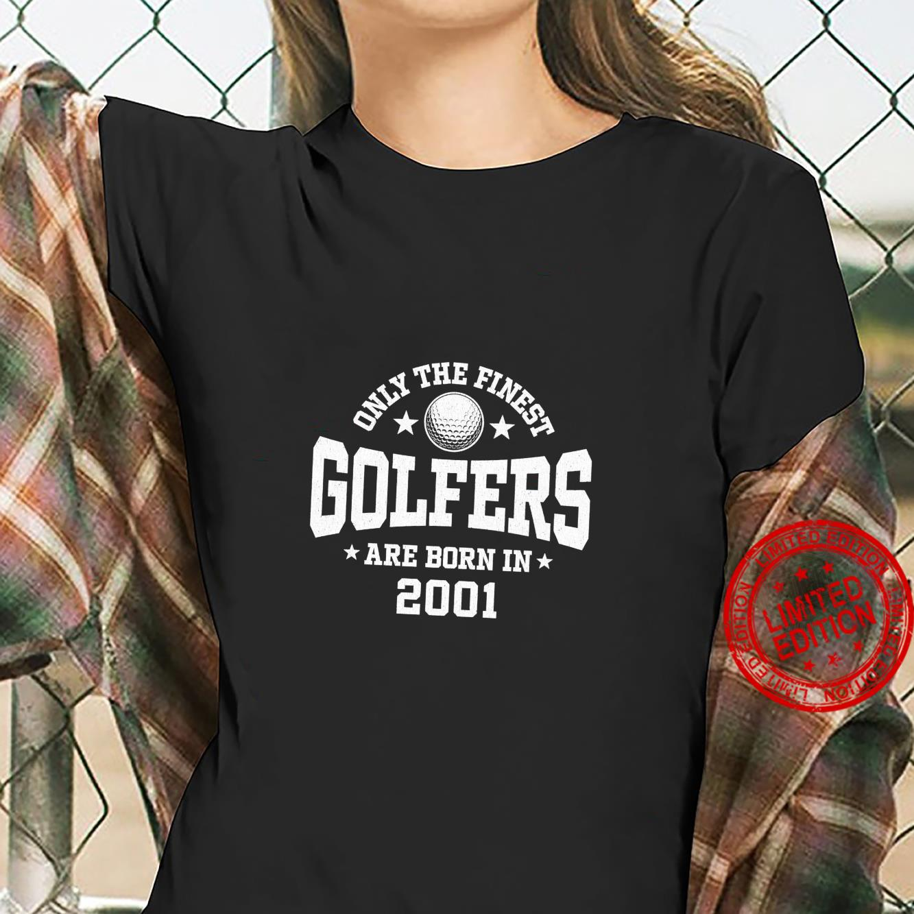 Gift for 20 Year Old Golfer Golfing 2001 20th Birthday Shirt ladies tee