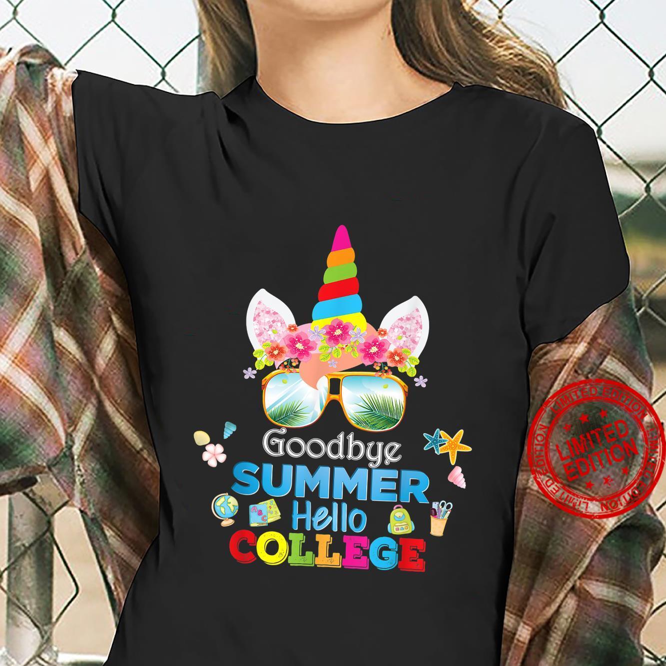 Goodbye Summer Hello College Unicorn Back To School Class Shirt ladies tee