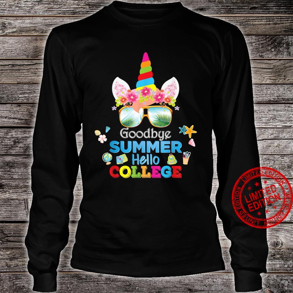 Goodbye Summer Hello College Unicorn Back To School Class Shirt long sleeved