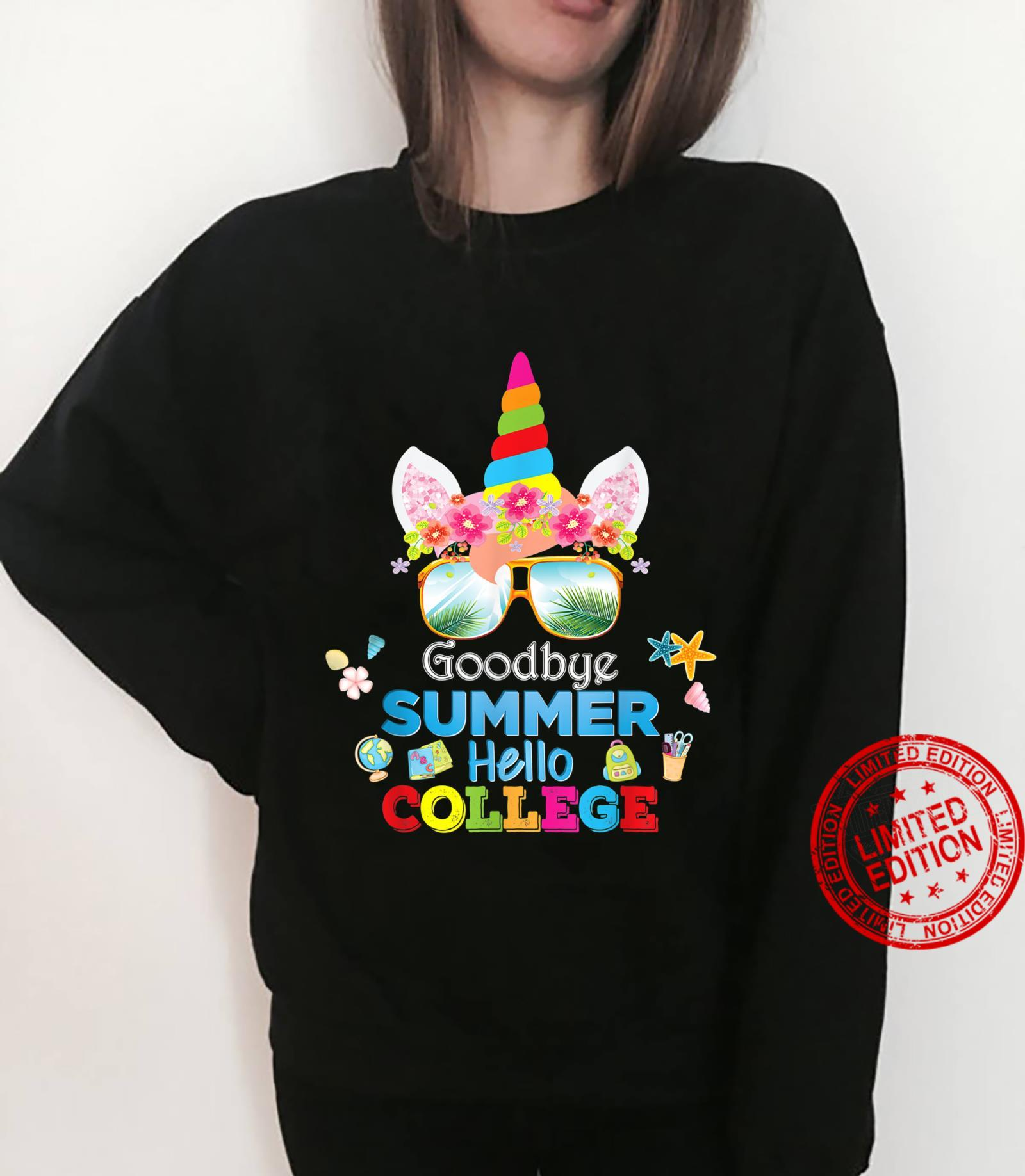 Goodbye Summer Hello College Unicorn Back To School Class Shirt sweater
