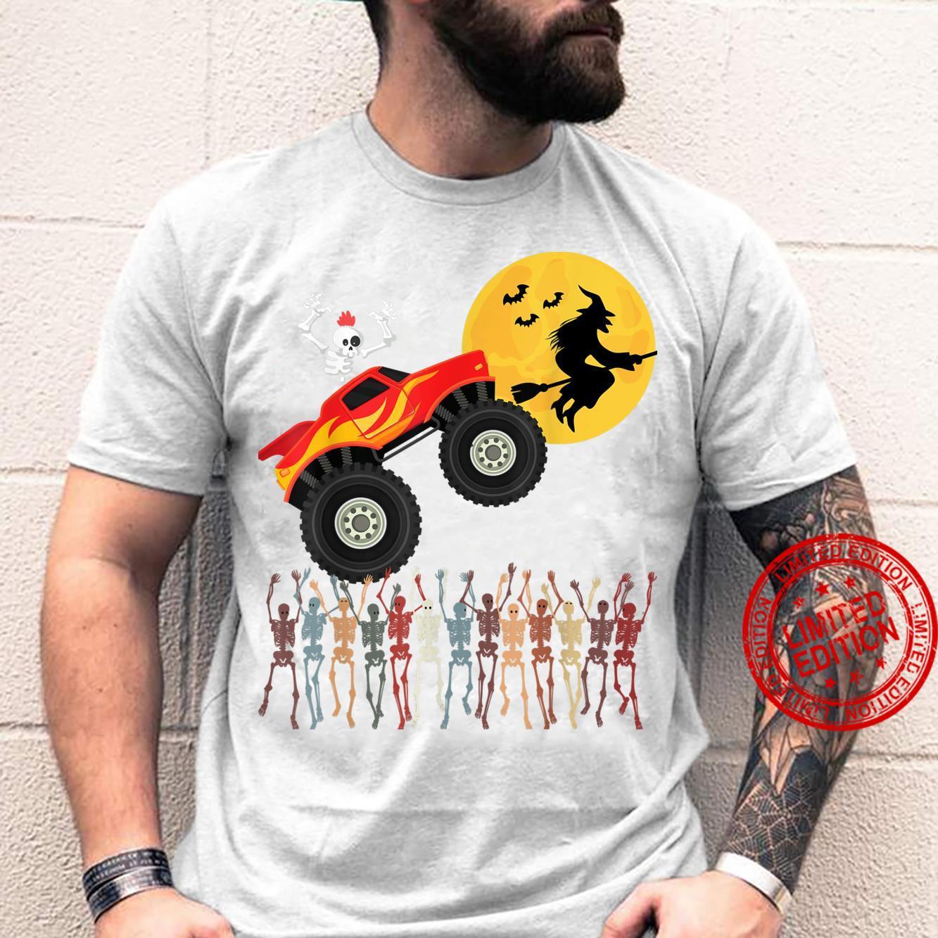 Halloween 2021 Skeleton Riding Monster Truck Toddler boys Shirt