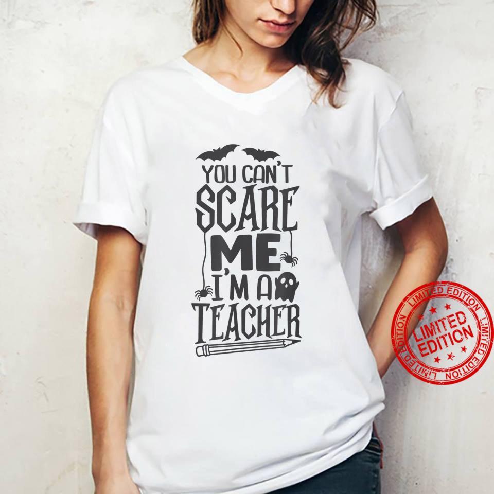 I'm The Teacher You Can't Scare Me Halloween Bat Skull Shirt ladies tee