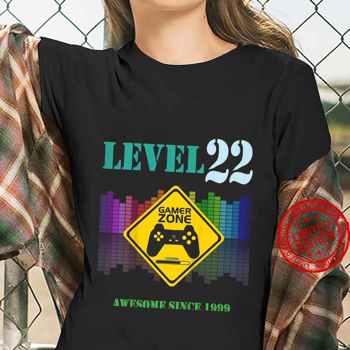 Kinder 22. GeburtstagsgeschenkSpieleliebhaber Gamer Zone Level 22 Shirt ladies tee