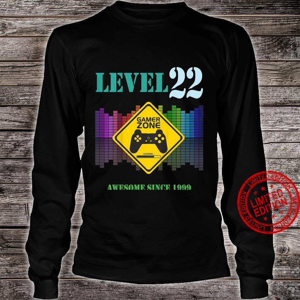Kinder 22. GeburtstagsgeschenkSpieleliebhaber Gamer Zone Level 22 Shirt long sleeved