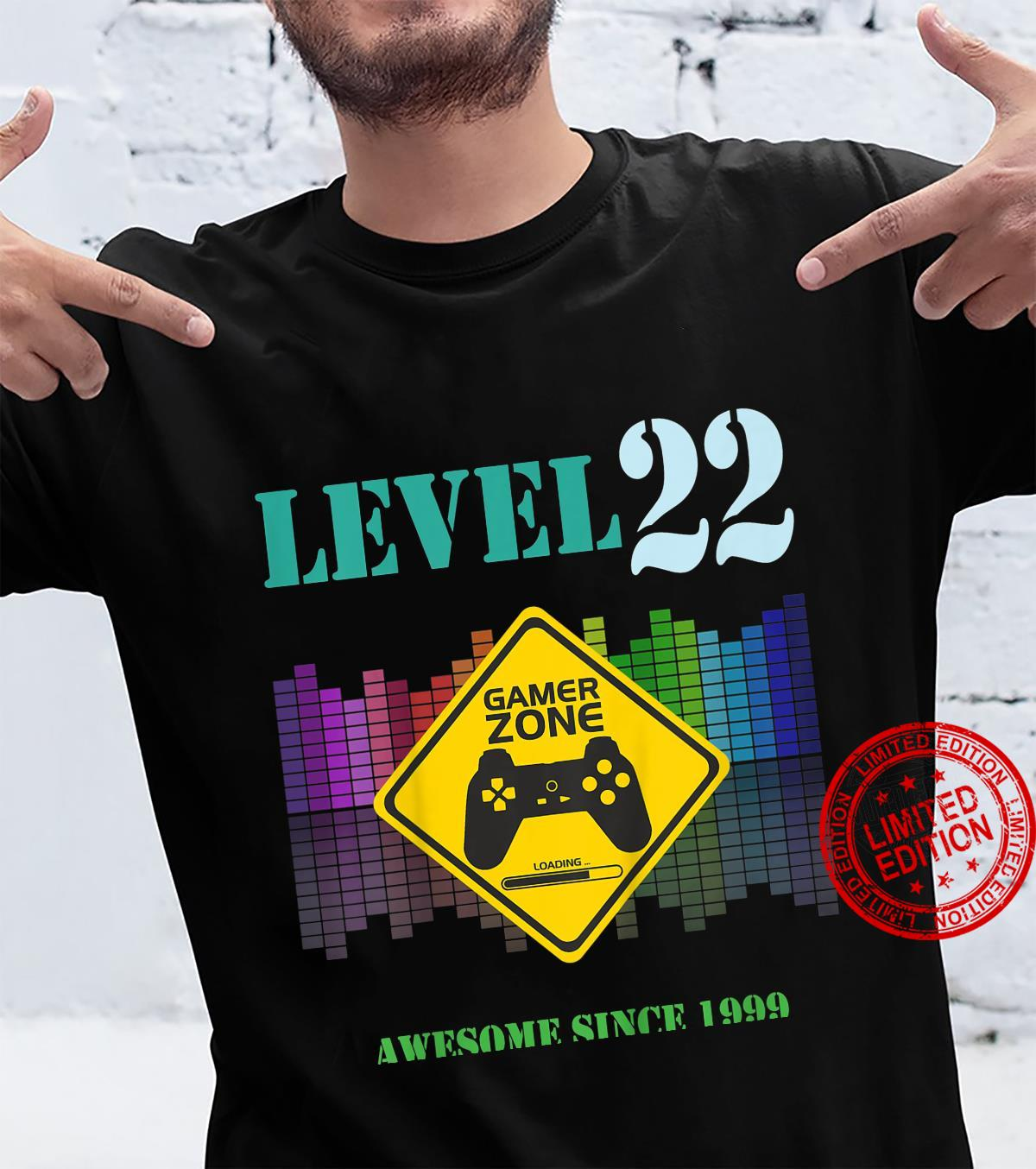 Kinder 22. GeburtstagsgeschenkSpieleliebhaber Gamer Zone Level 22 Shirt