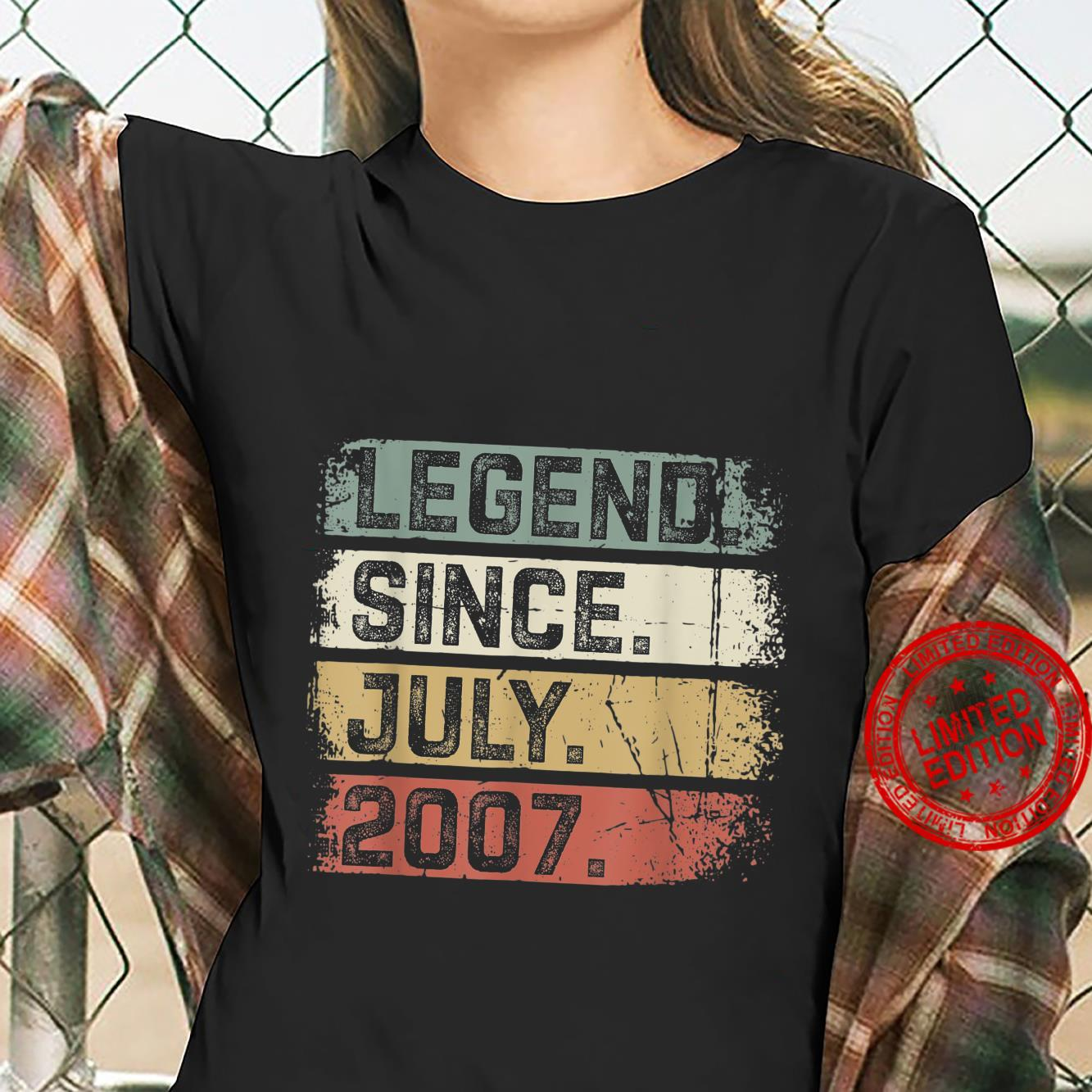 Legend Since July 2007 14th Birthday 14 Years Old Shirt ladies tee