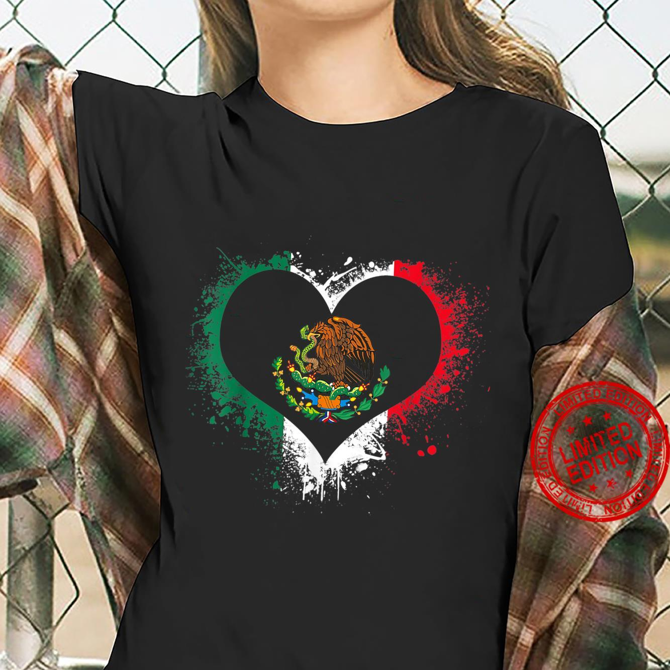 Mexican Heart Flag Eagle Mexico Independence Eagle Shirt ladies tee