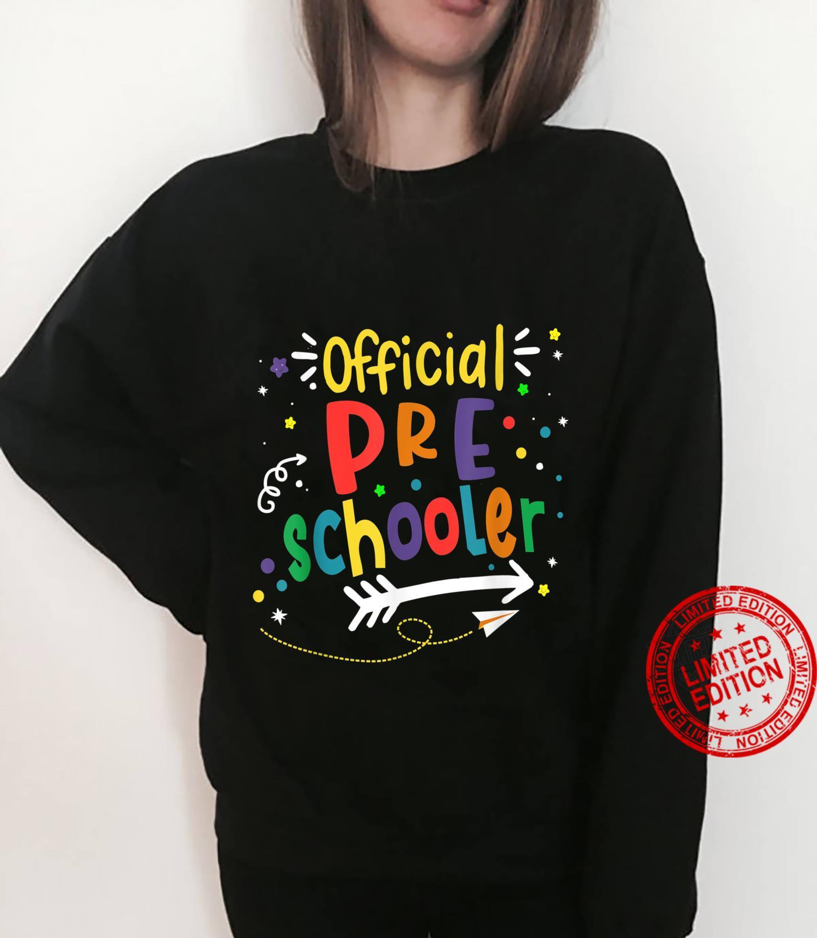 Official Preschooler Girl Boy First Day of Preschool Shirt sweater