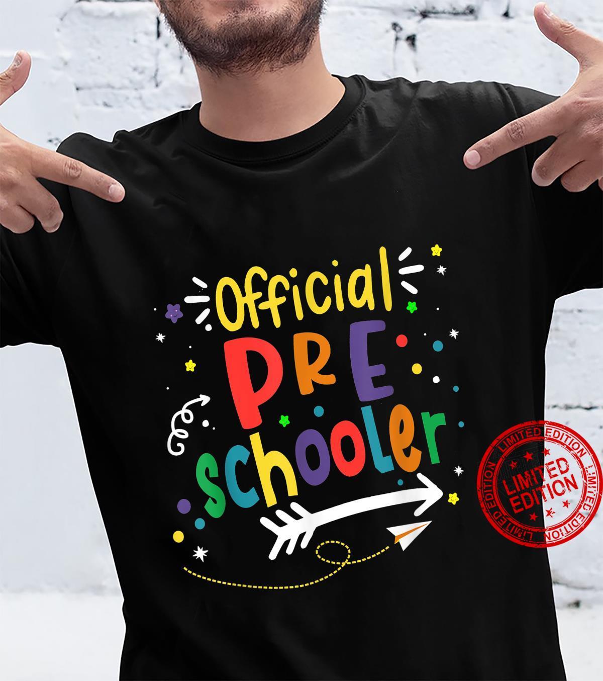 Official Preschooler Girl Boy First Day of Preschool Shirt