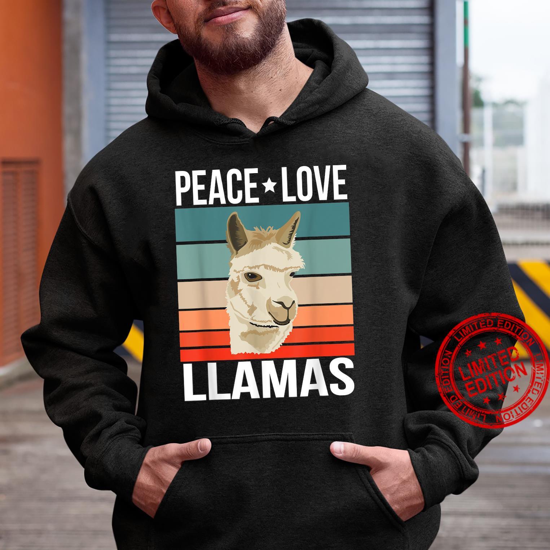 Peace Love Llamas Quote Retro Art Farmer Vintage Shirt hoodie