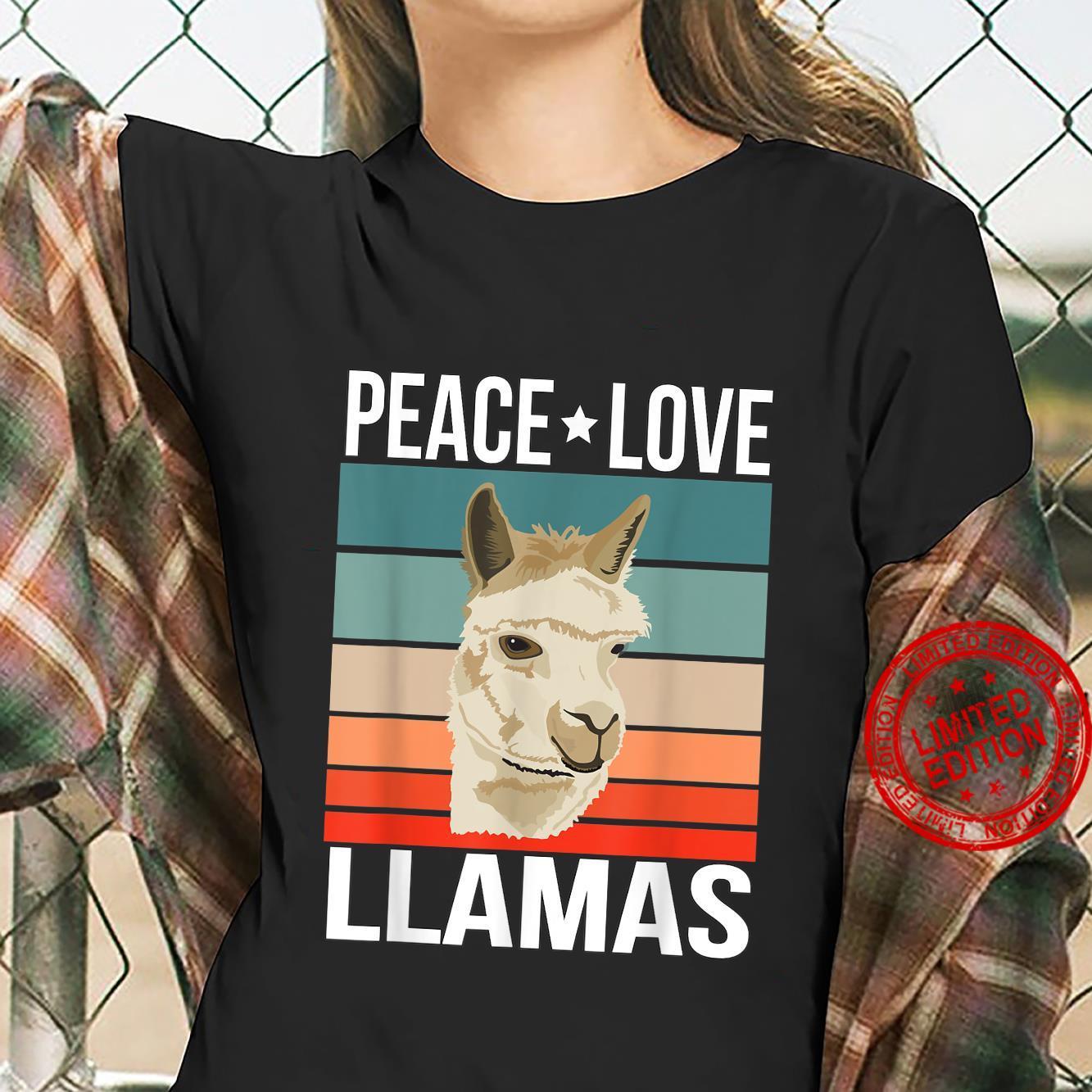 Peace Love Llamas Quote Retro Art Farmer Vintage Shirt ladies tee