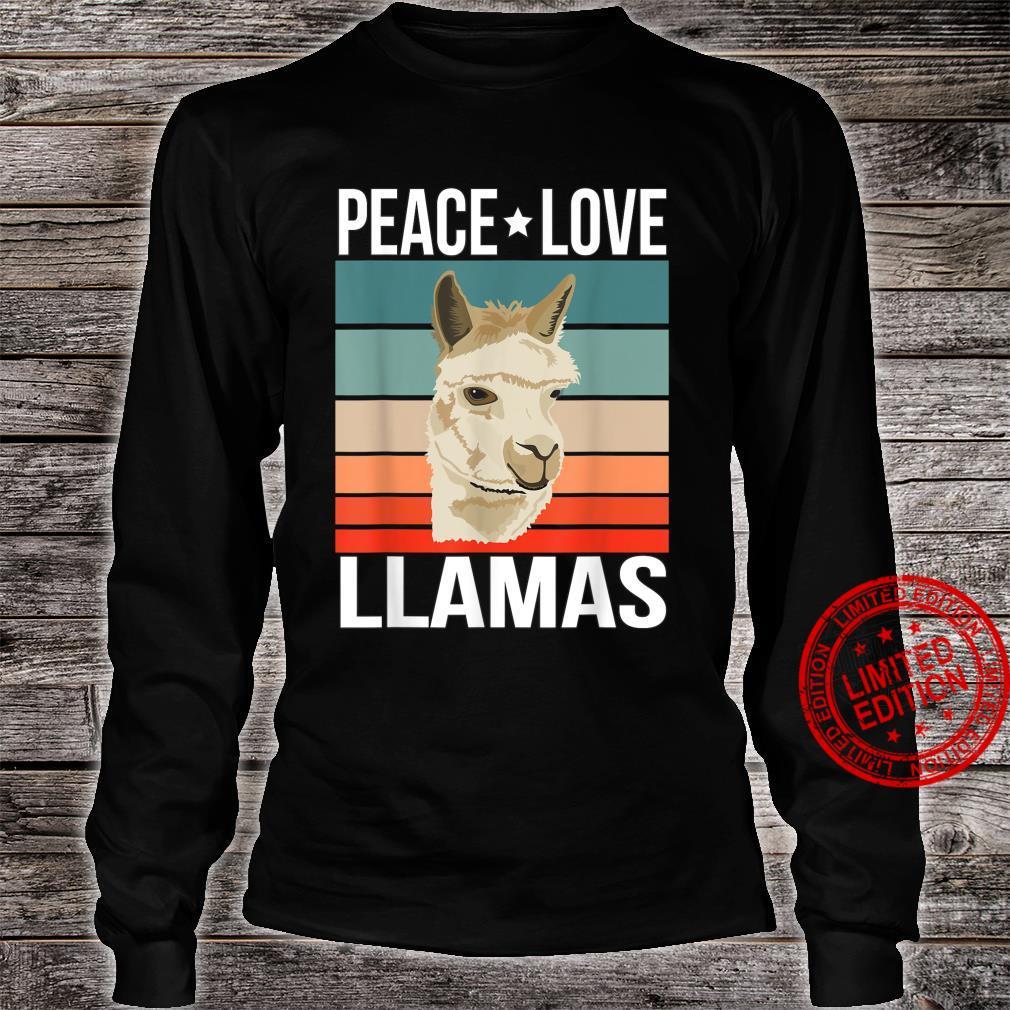 Peace Love Llamas Quote Retro Art Farmer Vintage Shirt long sleeved