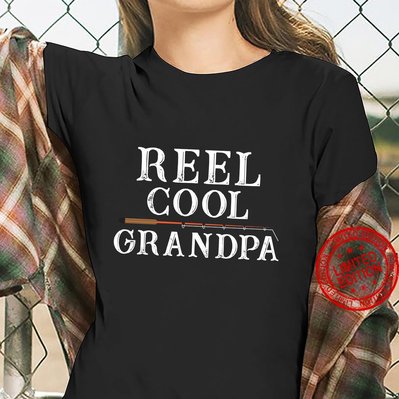 Reel Cool Grandpa Fishing Distressed Fisherman's Shirt ladies tee