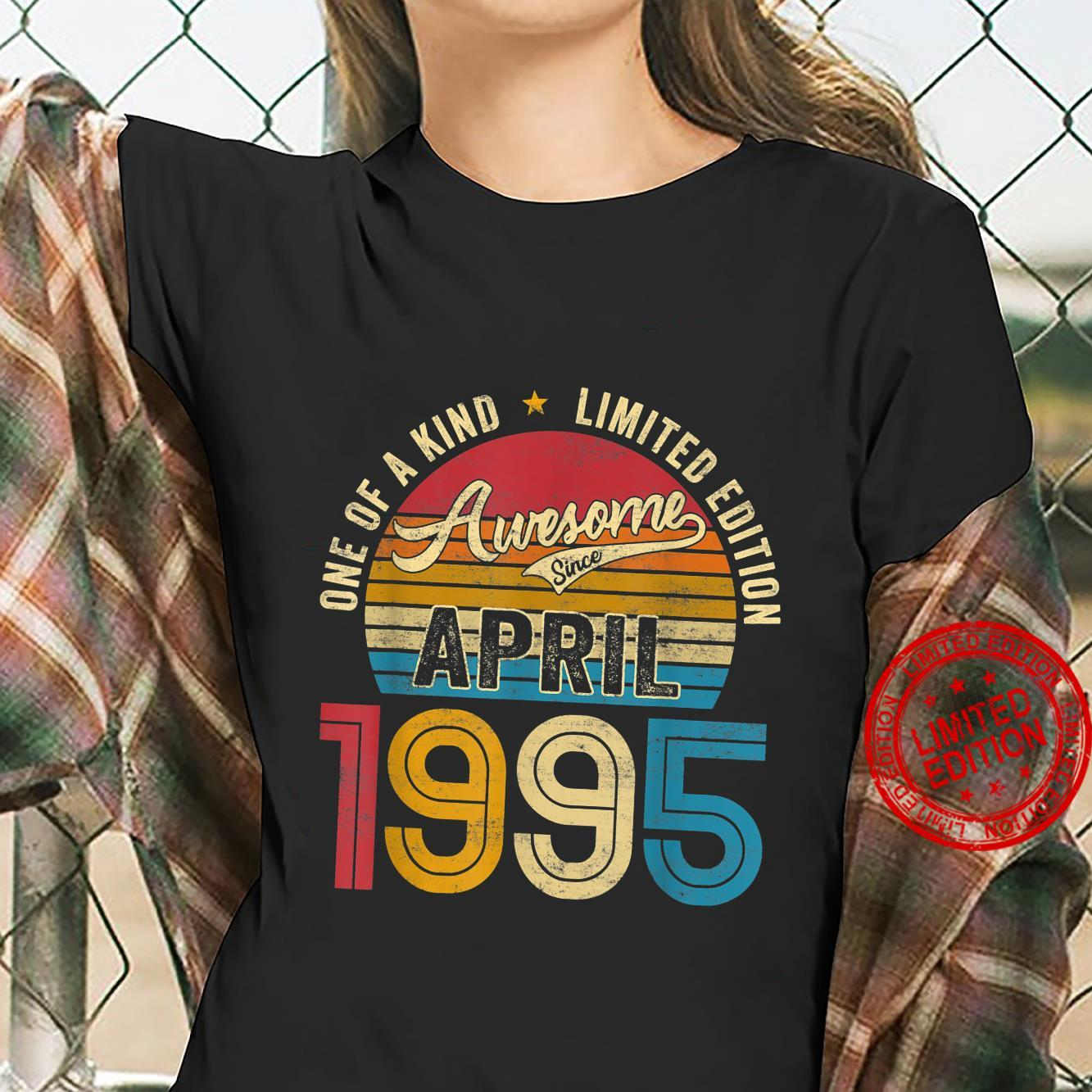 Retro 26 Years Old Awesome Since April 1995 26th Bday Shirt ladies tee
