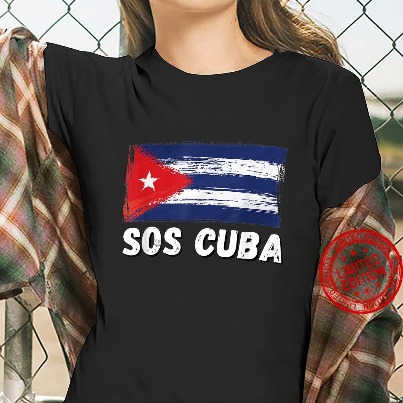 SOS CUBA Shirt, We Stand With Cuba, Support Save Free Cuba Shirt ladies tee