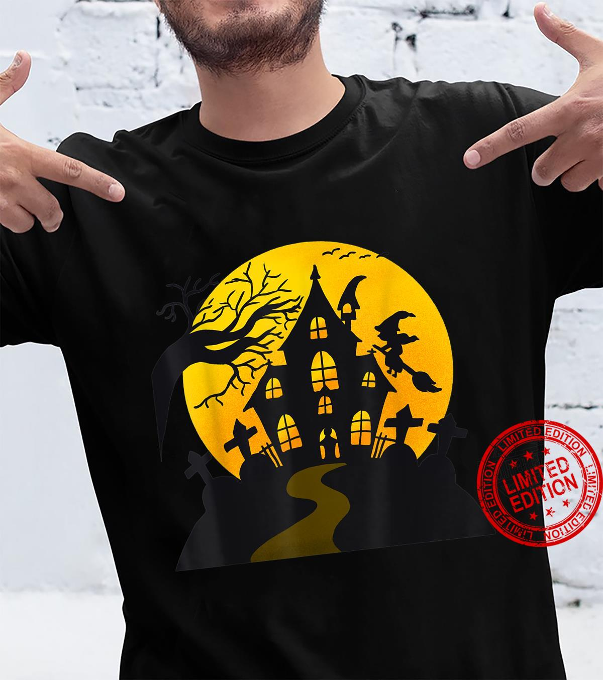 Scary Spooky Haunted House With Witch And Cemetery Halloween Shirt