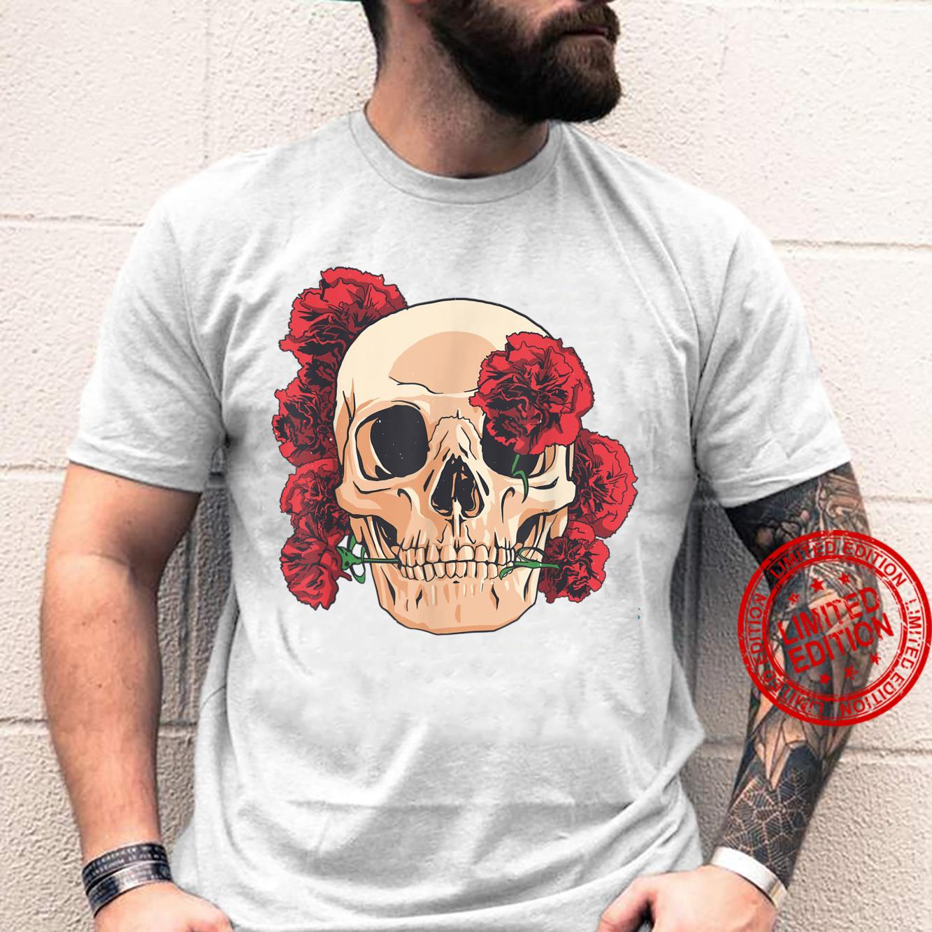 Skull With Red Carnations Flowers Shirt