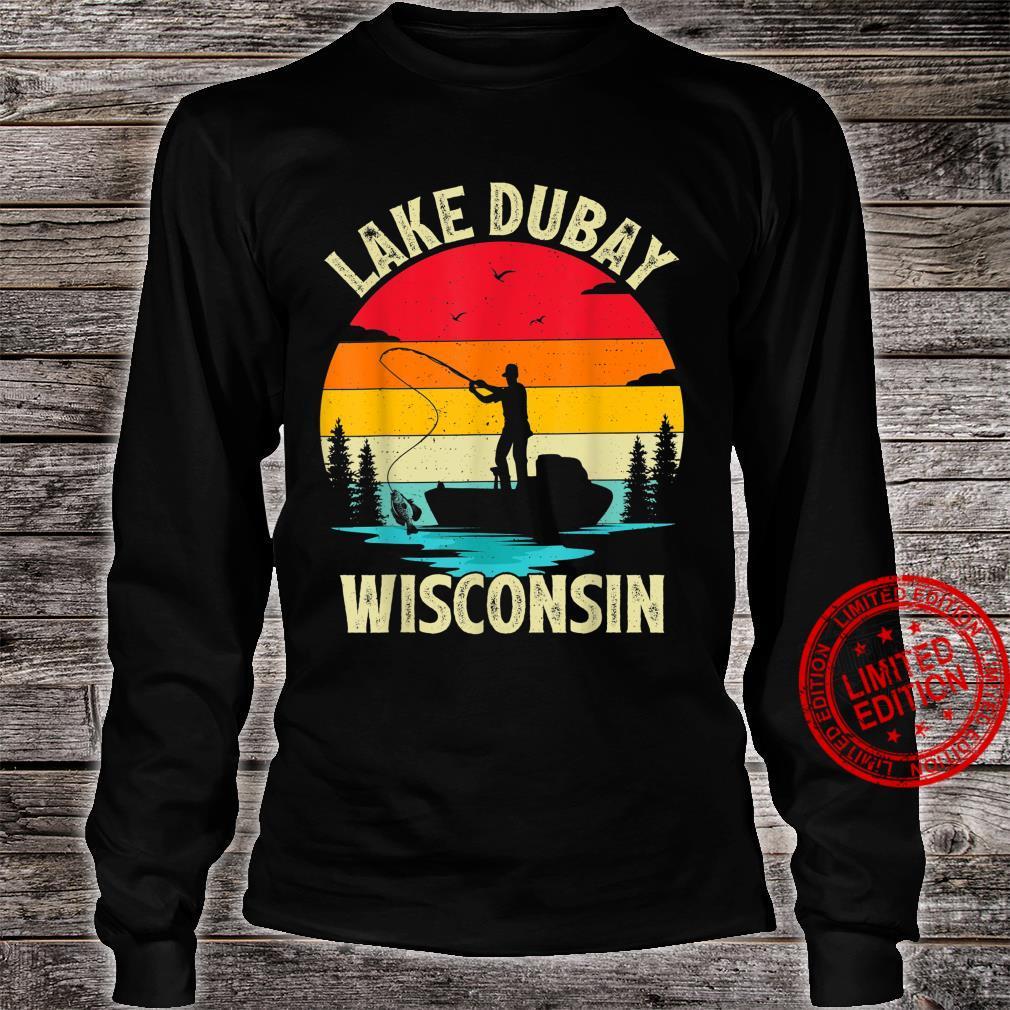 Summer Vacation Fishing Vintage Retro Wisconsin Dubay Lake Shirt long sleeved