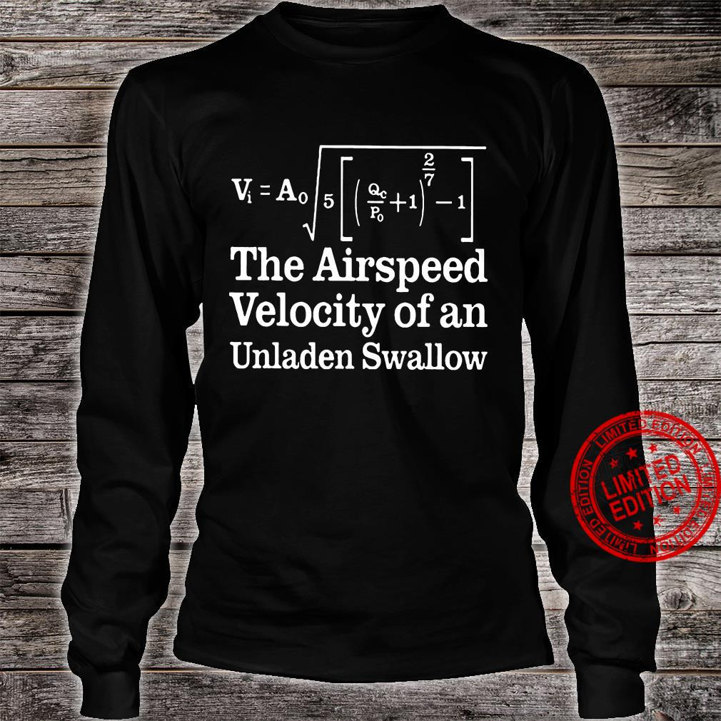 The airspeed velocity of an unladen swallow shirt long sleeved