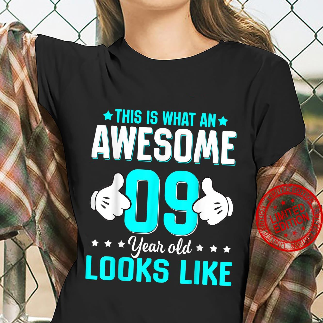 This Is What An Awesome 9 Year Old Looks Like Birthday Shirt ladies tee