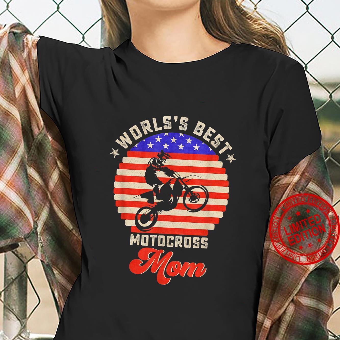 Vintage Retro USA Flag World's Best Motocross Dirt Bike Mom Shirt ladies tee