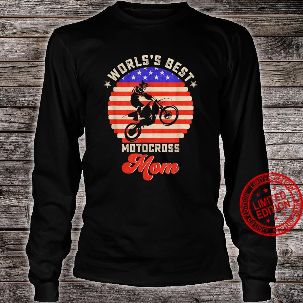 Vintage Retro USA Flag World's Best Motocross Dirt Bike Mom Shirt long sleeved