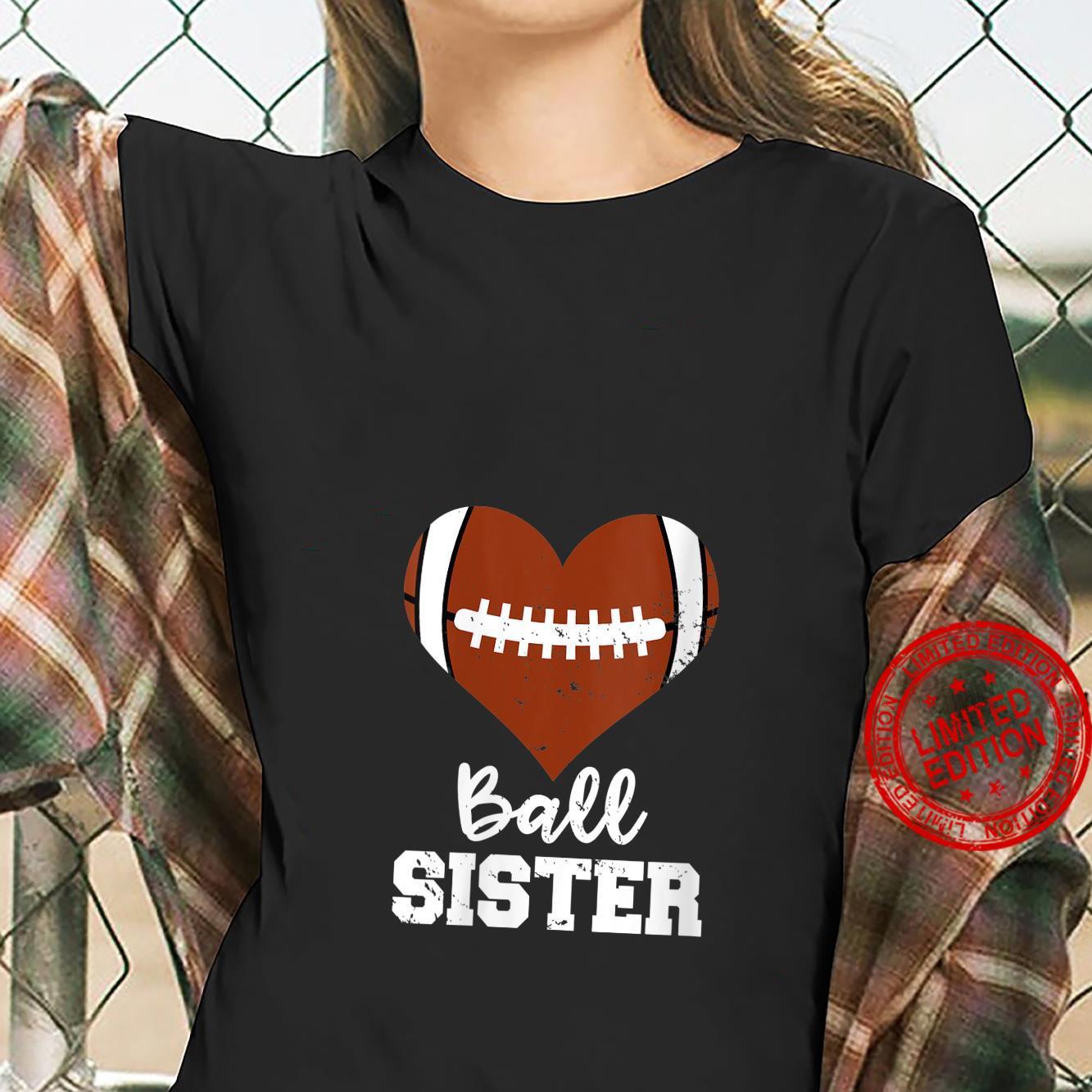 Womens Ball Sister Football Heart Big Sister Shirt ladies tee