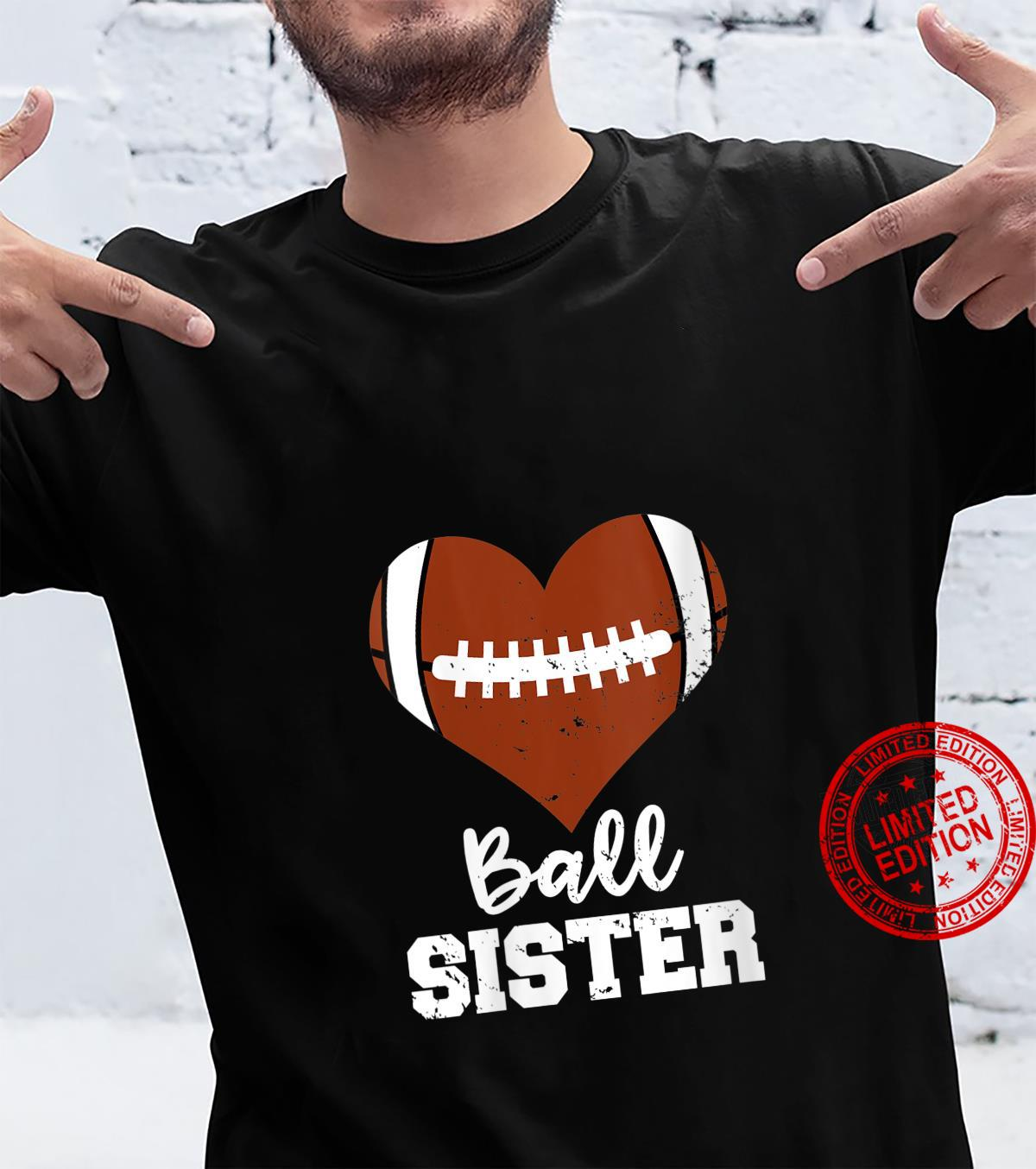 Womens Ball Sister Football Heart Big Sister Shirt