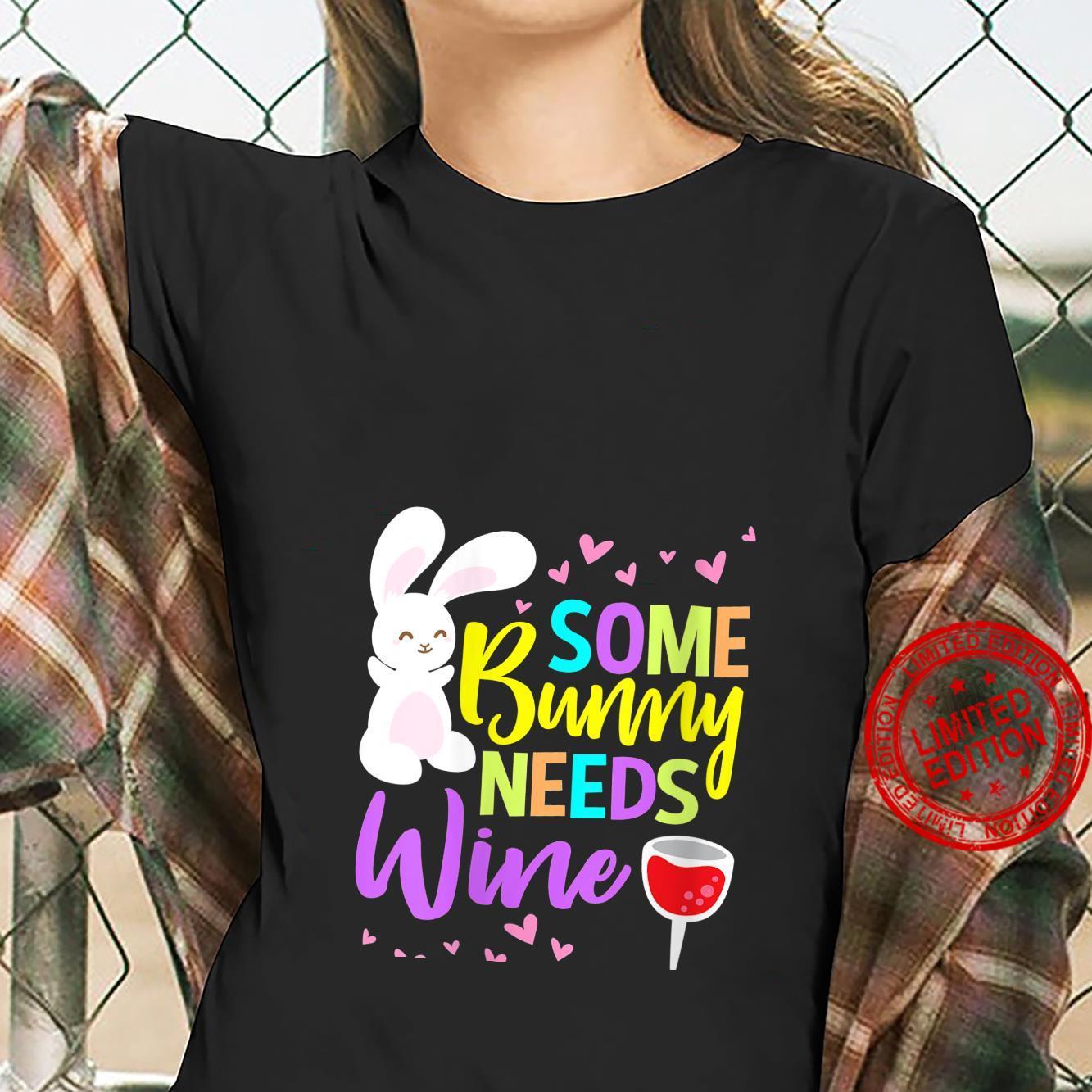 Womens Some Bunny Needs Wine Easter Shirt ladies tee