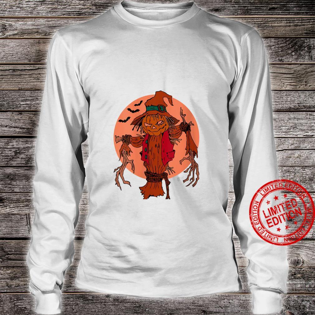 Womens Unisex halloween pumpkin scarecrow motif whit moon and bats Shirt long sleeved