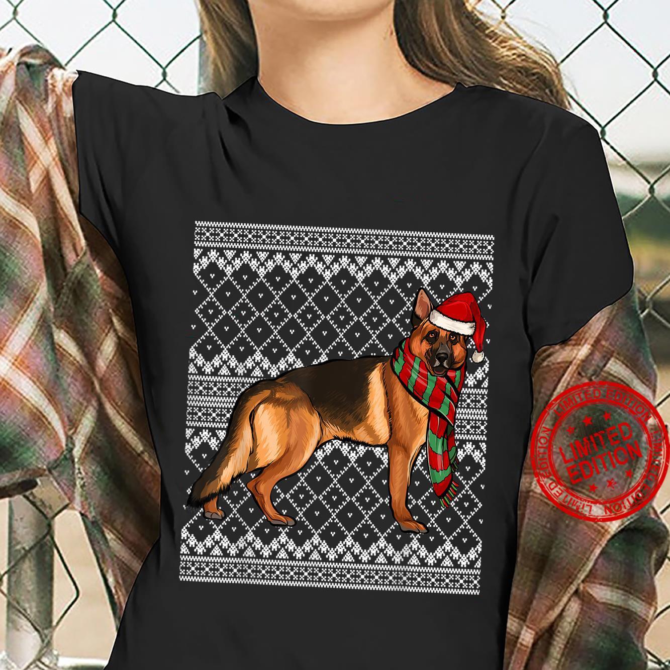 Xmas German Shepherd Santa Claus Hat Ugly Christmas Shirt ladies tee