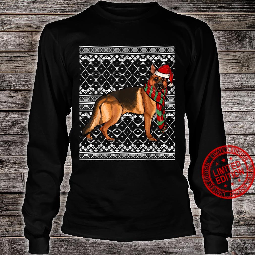 Xmas German Shepherd Santa Claus Hat Ugly Christmas Shirt long sleeved