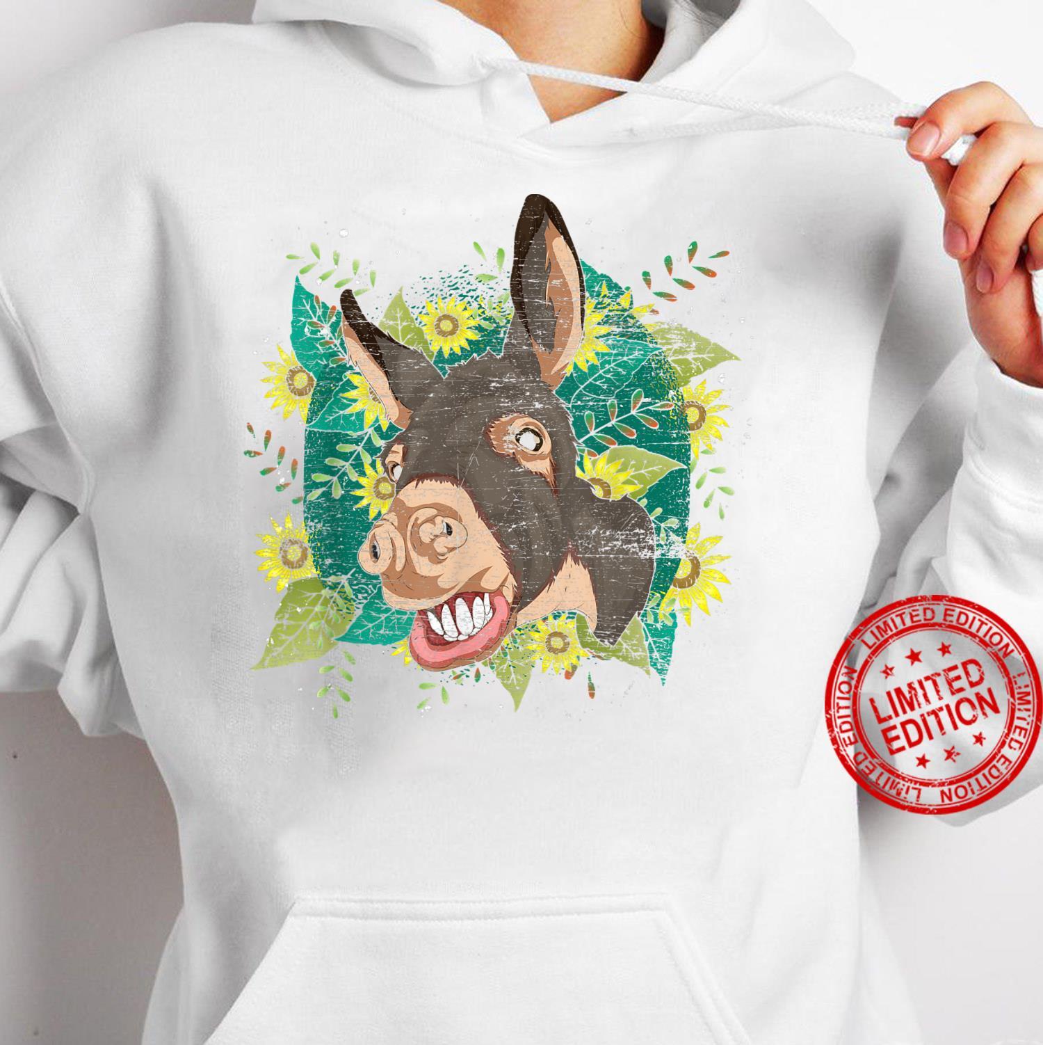 Yellow Flower Sunflower Farm Animal Cute Hippie Donkey Shirt hoodie