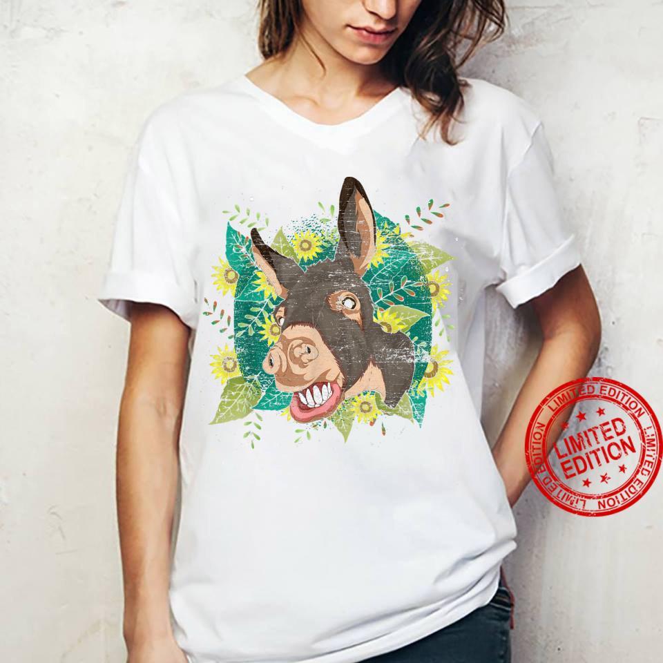 Yellow Flower Sunflower Farm Animal Cute Hippie Donkey Shirt ladies tee