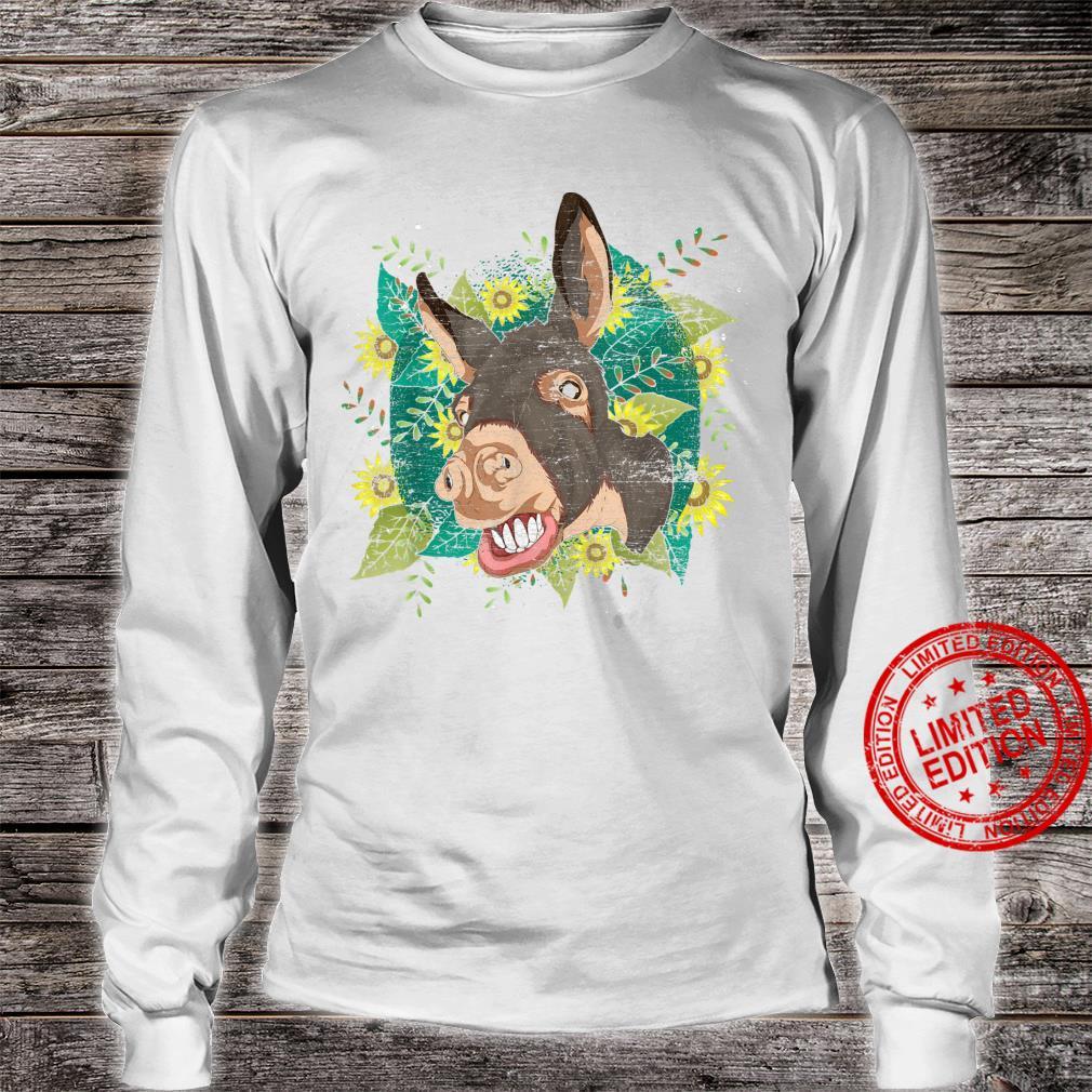 Yellow Flower Sunflower Farm Animal Cute Hippie Donkey Shirt long sleeved