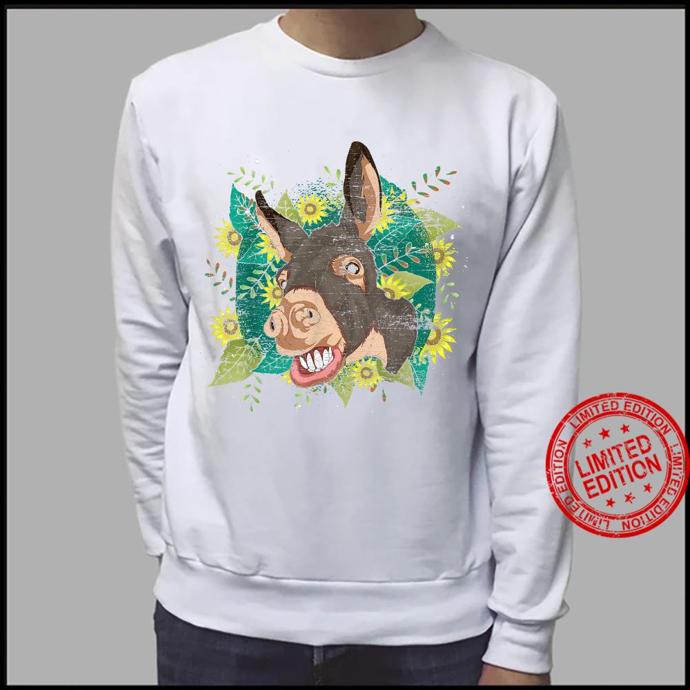 Yellow Flower Sunflower Farm Animal Cute Hippie Donkey Shirt sweater