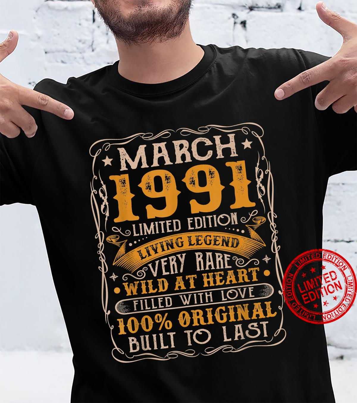 30 Years Old Born In March 1991 Vintage 30th Birthday Retro Shirt
