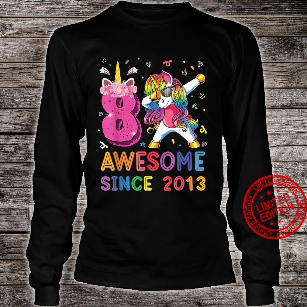 Awesome Since 2013 Dabbing Unicorn Shirt 8th Birthday Party Shirt long sleeved
