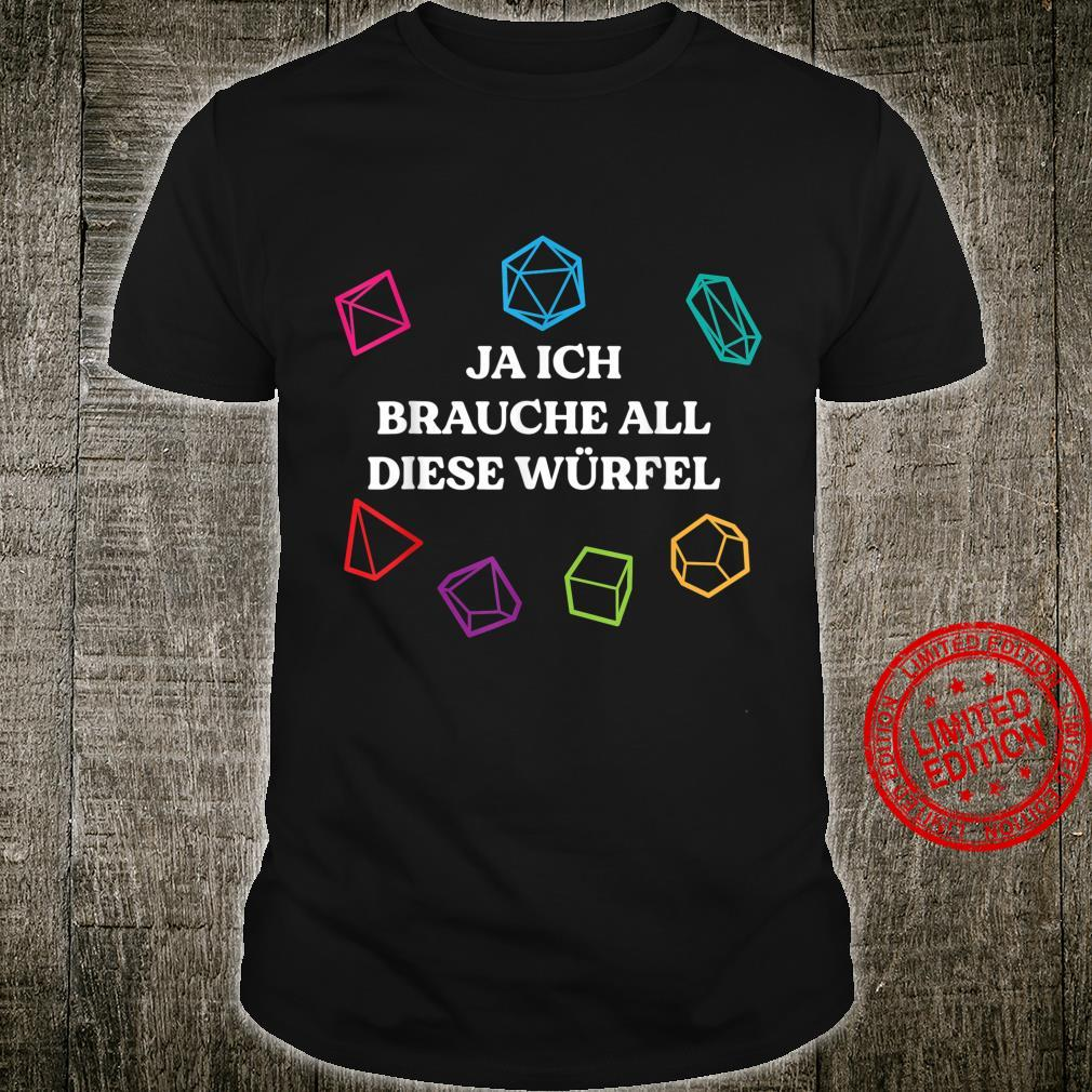 Board Game Dice Role Playing Gaming Humor Gamer Shirt