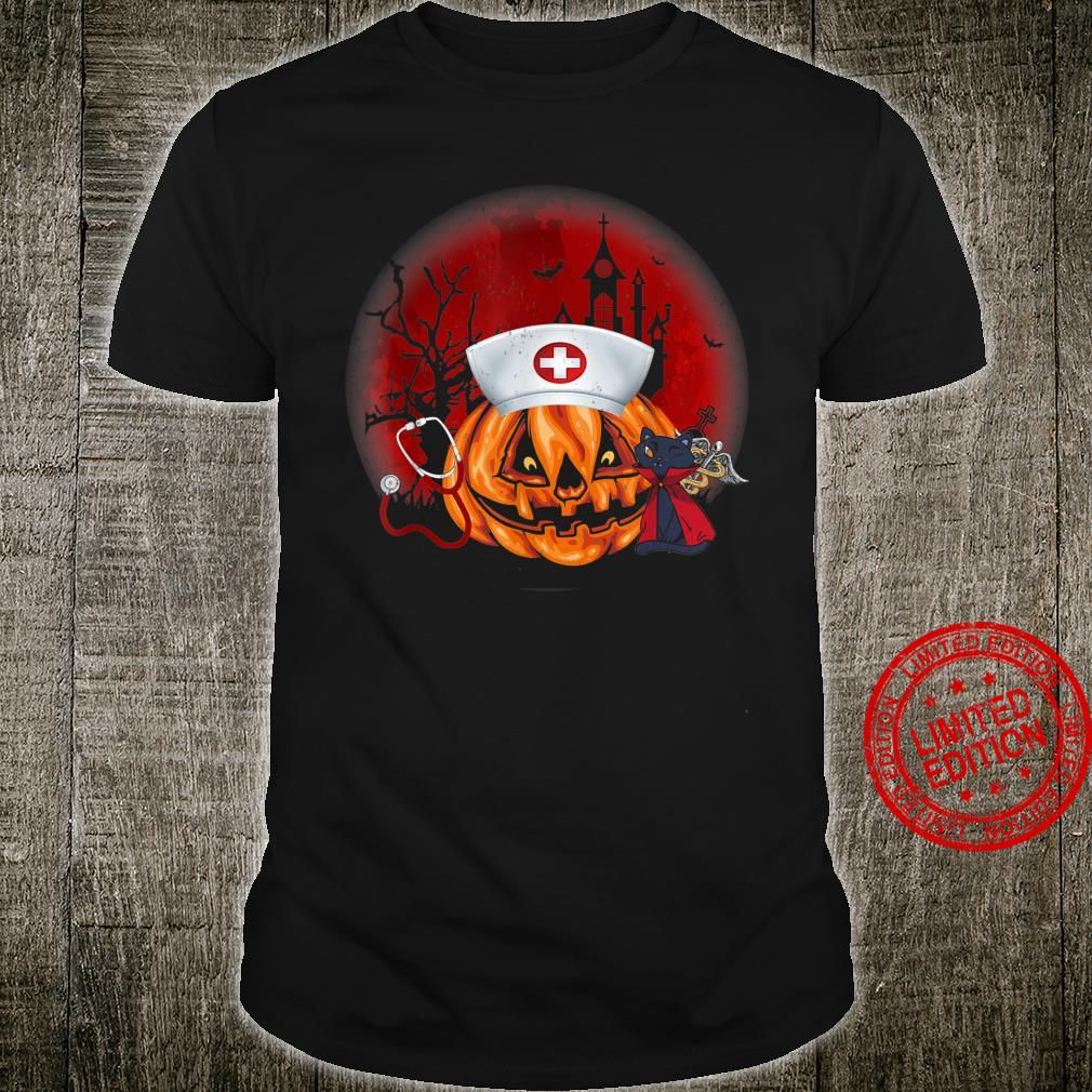 Cute Nurse Costume Halloween Stethoscope Pumpkin Shirt
