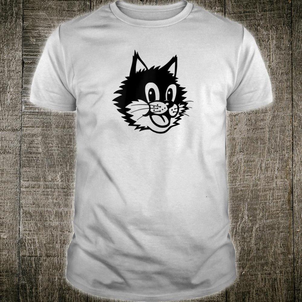 Funny Cartoon Smiling Laughing Happy Cat Kitten Face Shirt